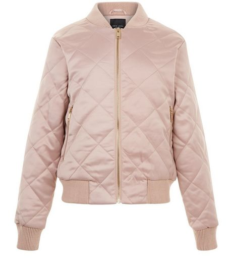 Petite Shell Pink Diamond Quilted Bomber Jacket | New Look