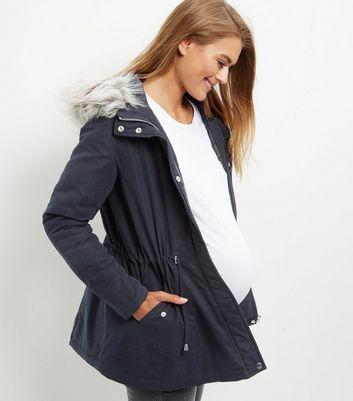 Maternity Navy Faux Fur Trim Hooded Parka Jacket