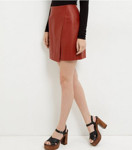 Tan Leather-Look Wrap Mini Skirt | New Look