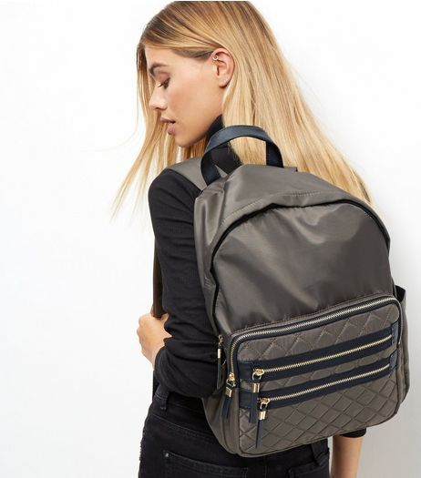 Khaki Quilted Pocket Front Backpack | New Look
