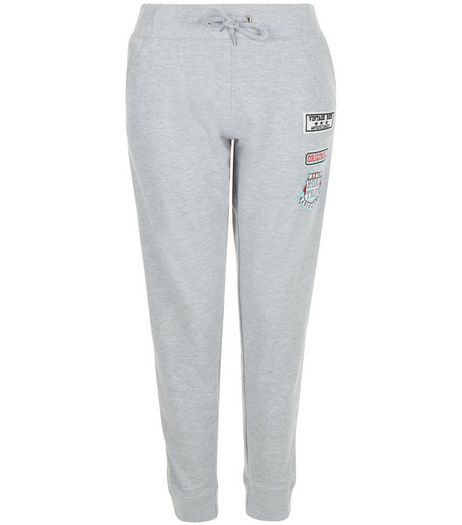 Grey Badge Patchwork Joggers  | New Look