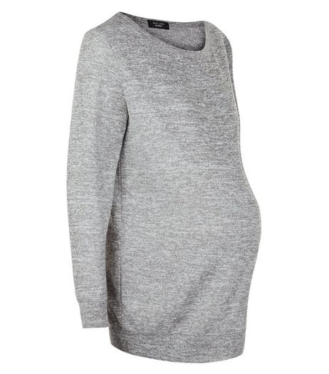 Maternity Grey Fine Knit Sweater  | New Look