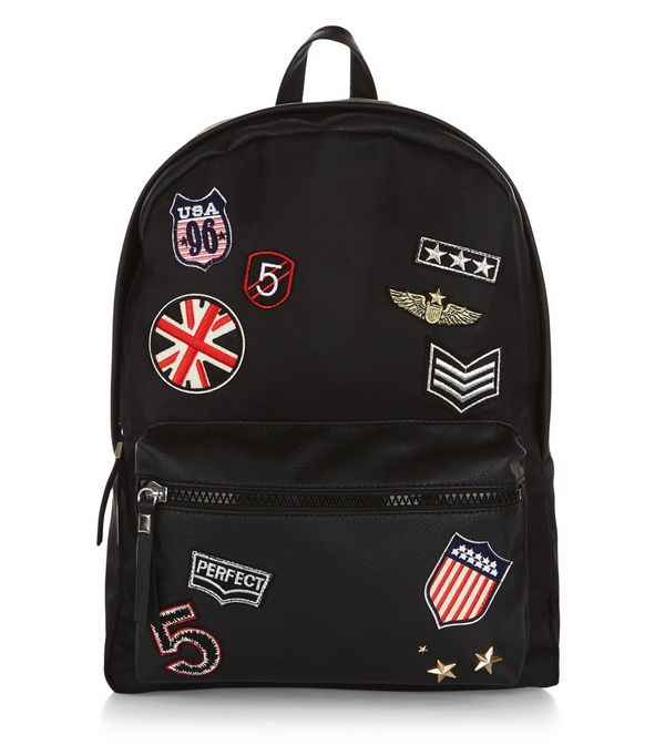 Image result for new look black badge backpack