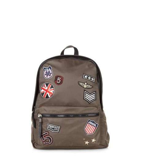 Khaki Badge Backpack | New Look