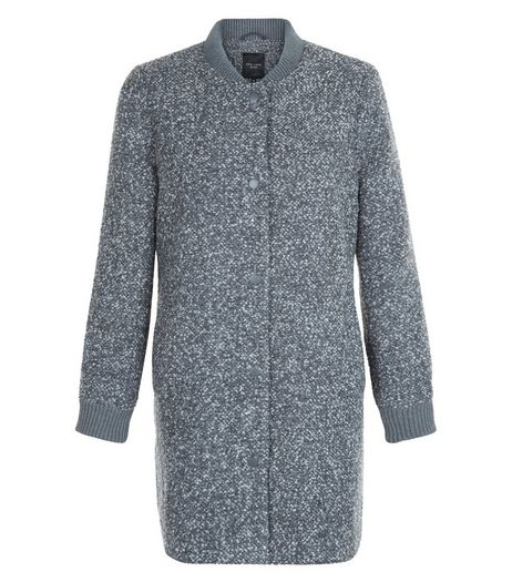 Grey Flecked Longline Bomber Jacket  | New Look