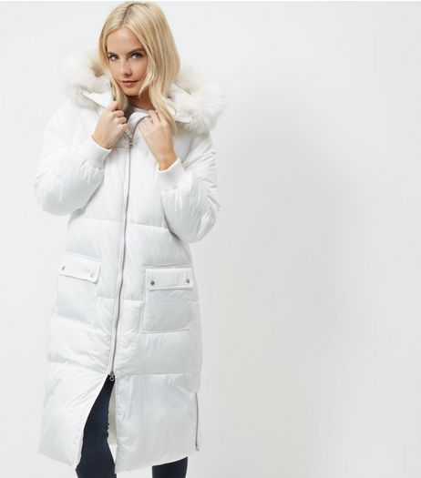 Petite White Faux Fur Trim Hooded Longline Coat | New Look
