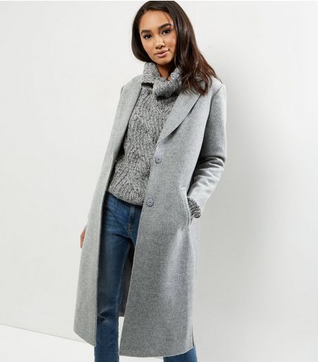 Petite Grey Split Side Longline Coat | New Look