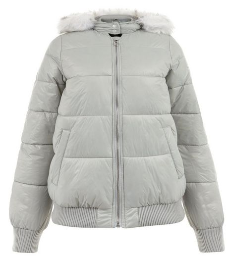 Teens Grey Faux Fur Trim Puffer Jacket | New Look