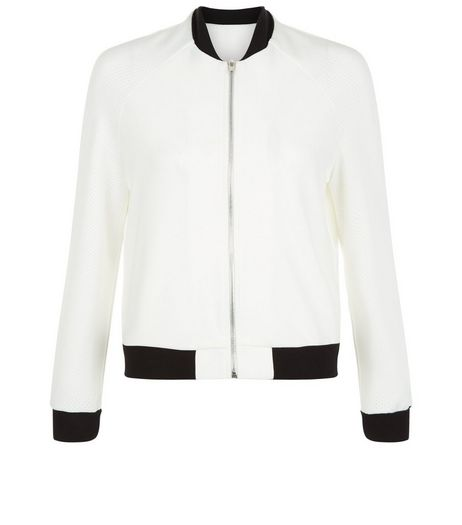 Teens White Airtex Contrast Trim Bomber Jacket | New Look