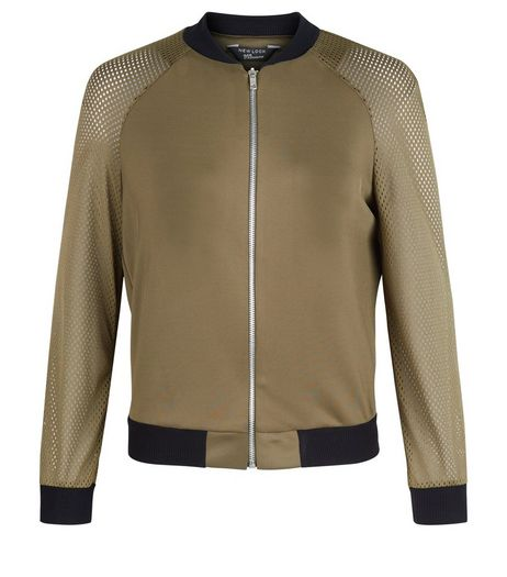 Teens Khaki Airtex Contrast Trim Bomber Jacket  | New Look