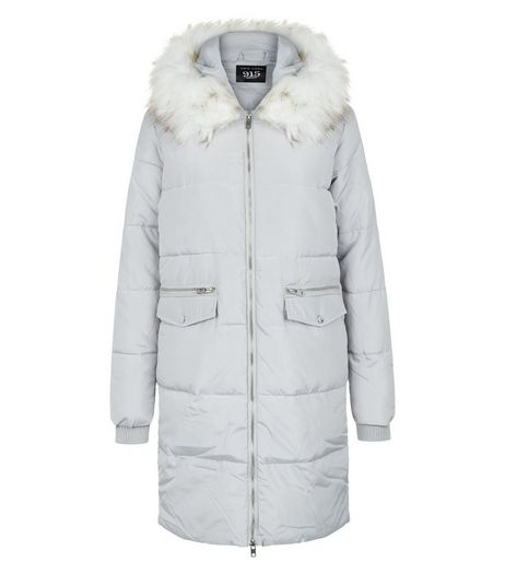 Teens Pale Grey Puffer Coat | New Look