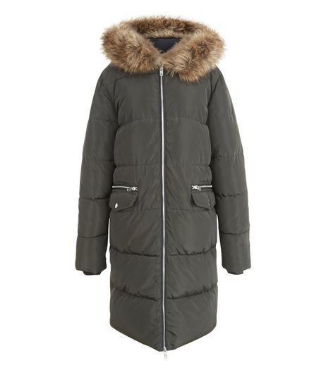 Teens Khaki Faux Fur Hooded Longline Coat | New Look