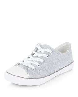 Wide Fit Grey Textured Lace Up Plimsolls | New Look