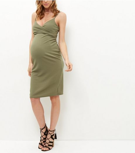 Maternity Khaki Wrap Front Strappy Midi Dress  | New Look