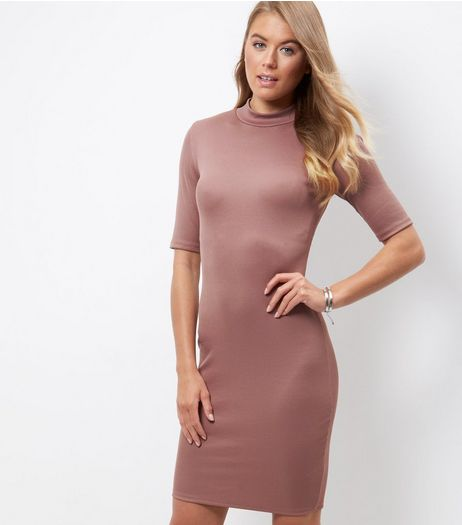 Tall Pink Funnel Neck Bodycon Dress | New Look