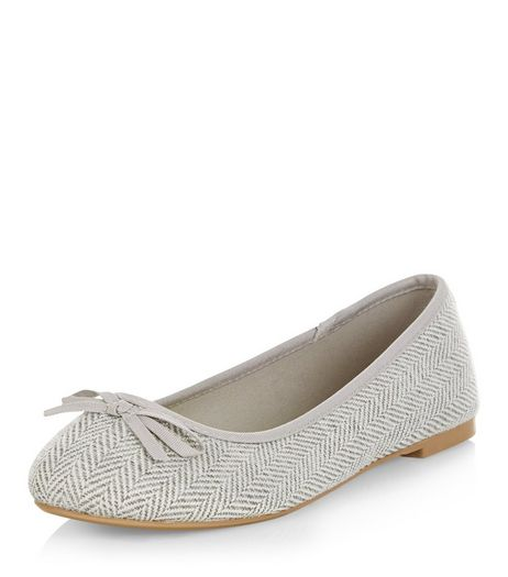 Wide Fit Grey Herringbone Ballet Pumps | New Look
