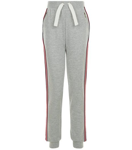 Grey Stripe Side Tape Drawstring Joggers | New Look