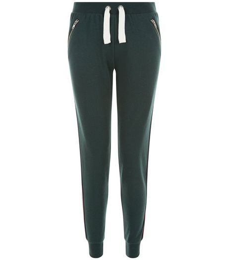 Teens Dark Green Stripe Tape Side Joggers | New Look