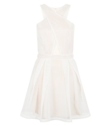 Girl in Mind White Cross Front Mesh Skater Dress | New Look