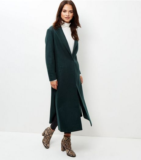 Tall Dark Green Bar Back Split Side Longline Coat | New Look