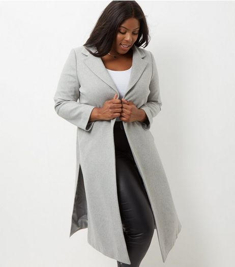 Curves Grey Belted Longline Coat | New Look