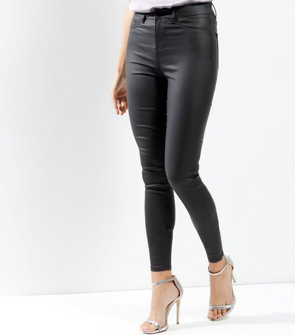 Tall Black Coated Super Skinny Jeans