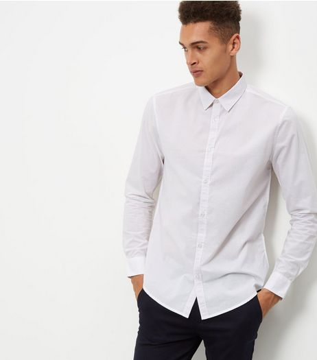 White Poplin Washed Long Sleeve Shirt | New Look