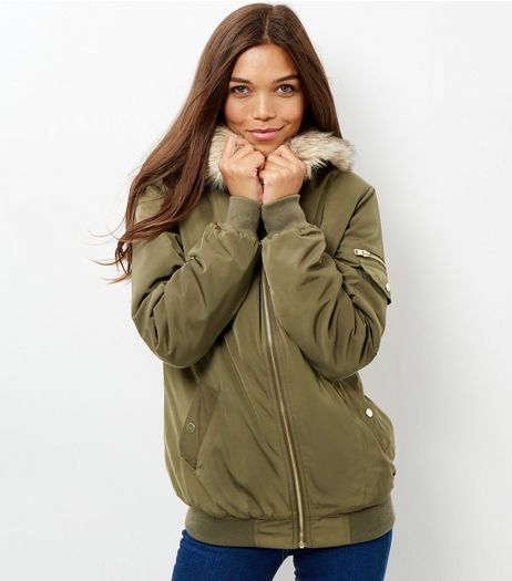 Tall Khaki Faux Fur Trim Padded Bomber Jacket  | New Look