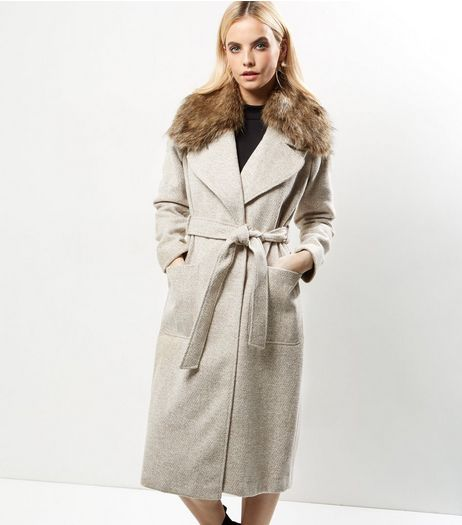 Petite Cream Faux Fur Collar Belted Longline Coat | New Look
