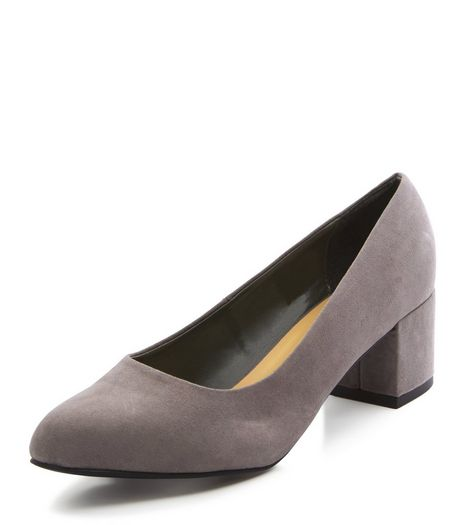 Wide Fit Grey Suedette Court Shoes  | New Look