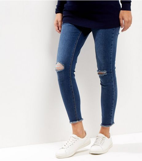 Maternity Blue Over Bump Authentic Ripped Knee Jeans | New Look