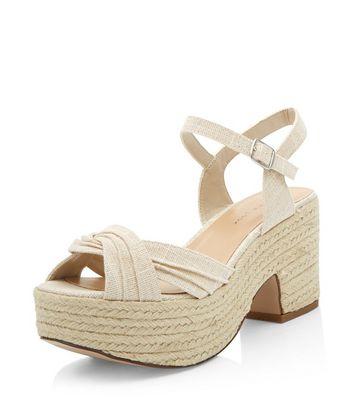 Sandalo  donna Wide Fit Cream Twist Strap Espadrille Sandals