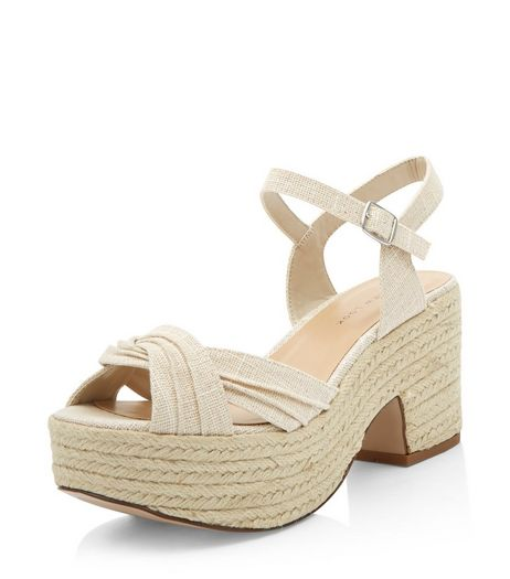 Wide Fit Cream Twist Strap Espadrille Sandals  | New Look
