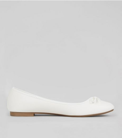 Wide Fit White Leather-Look Ballet Pumps | New Look