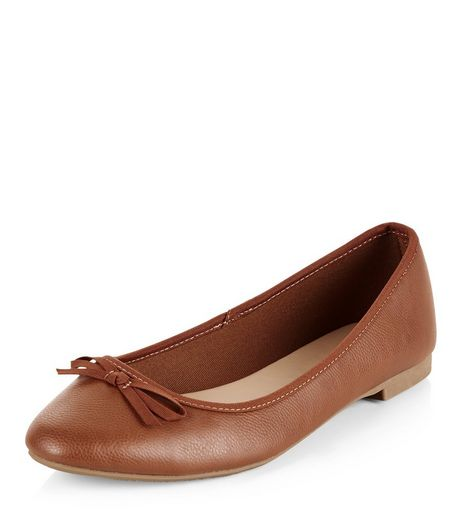 Wide Fit Tan Leather-Look Ballet Pumps | New Look