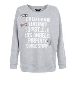 Grey California Badge Sweater  | New Look