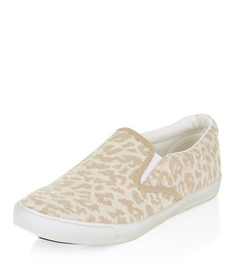 Wide Fit Cream Canvas Leopard Print Plimsolls | New Look