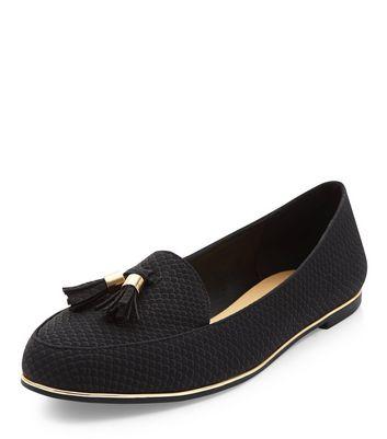 Mocassini  donna Black Textured Tassel Metal Trim Loafers