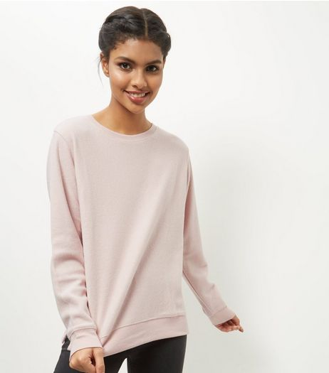 Shell Pink Brushed Sweater  | New Look