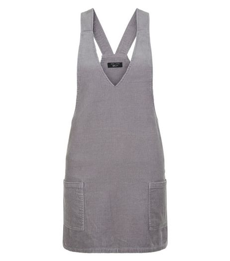 Teens Grey Cord Pinafore Dress | New Look