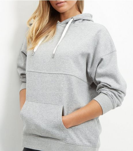 Grey Seam Trim Oversized Hoodie  | New Look