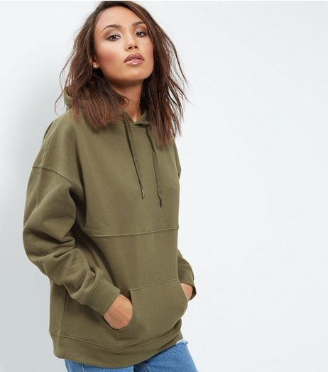 Khaki Oversized Seam Trim Hoodie  | New Look
