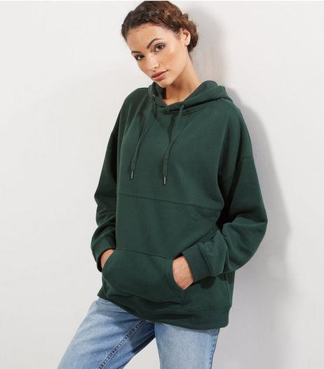 Dark Green Oversized Seam Trim Hoodie  | New Look
