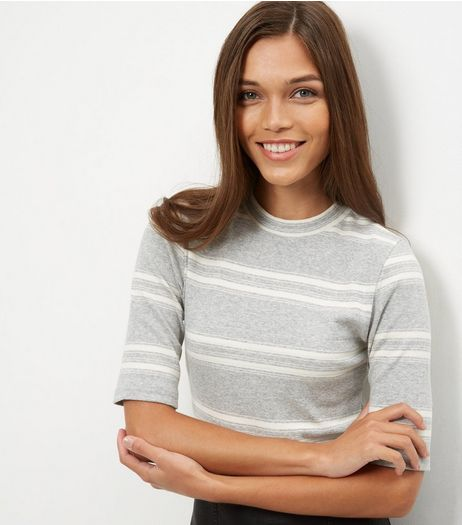 Grey Stripe Funnel Neck 1/2 Sleeve Top  | New Look