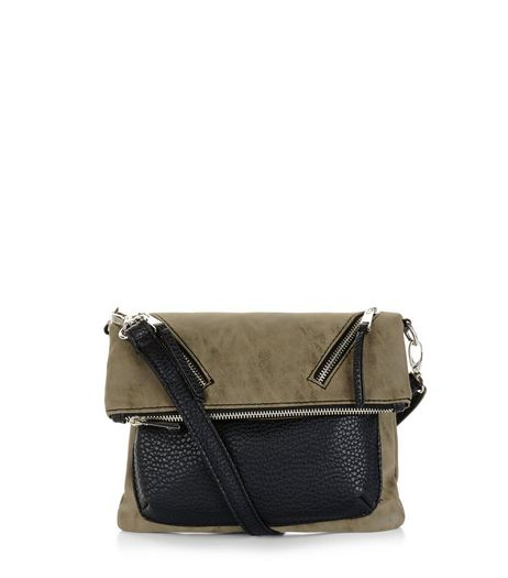 Khaki Folded Suedette Shoulder Bag | New Look