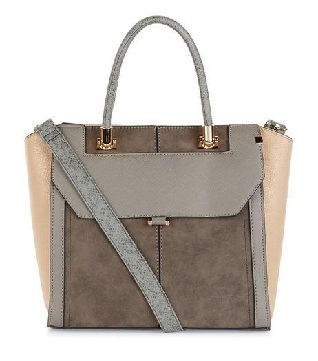 Grey Suedette Panel Tote Bag | New Look