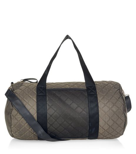 Khaki Quilted Barrel Bag | New Look