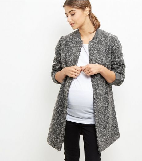 Maternity Grey Flecked Longline Bomber Jacket  | New Look
