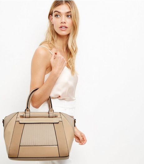 Cream Quilted Structured Bag | New Look