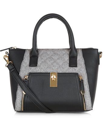 Black Felt Panel Twist Lock Mini Tote Bag
